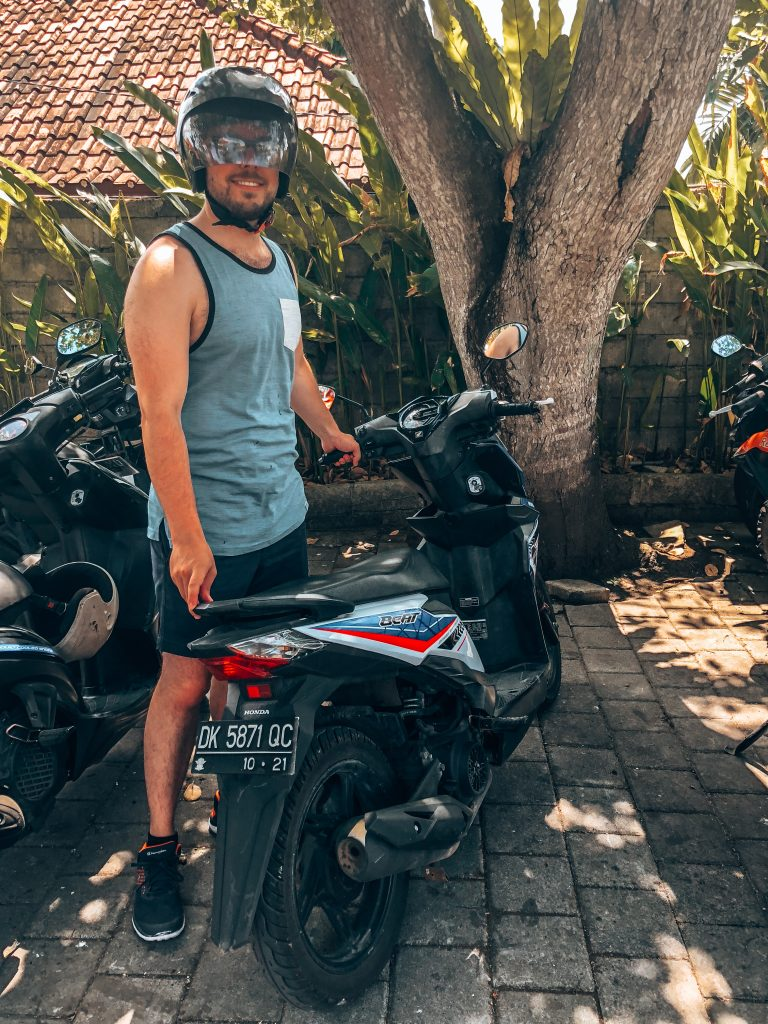 Using a scooter to get around in Uluwatu, Bali