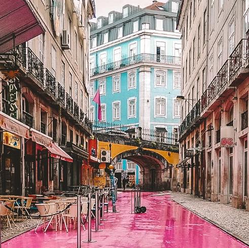 Pink Street, Lisbon, Portugal